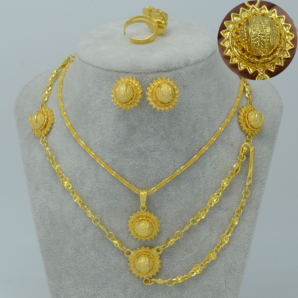 Anniyo Ethiopian Set Jewelry For Women/Girl Gold Color Hair Chain ...