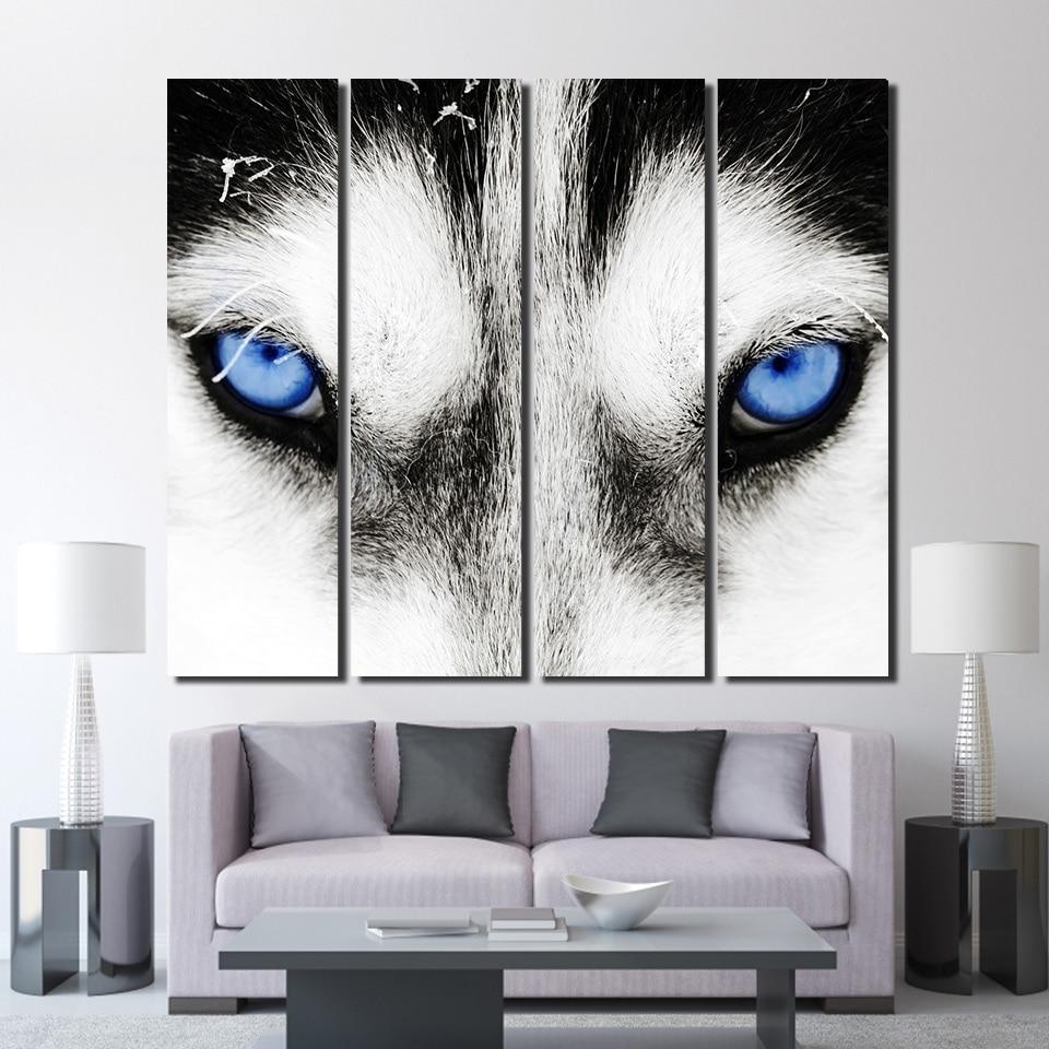 4 Panel HD Gedruckt Gerahmte Wolf Augen Schwarz Und Weiß Moderne ...