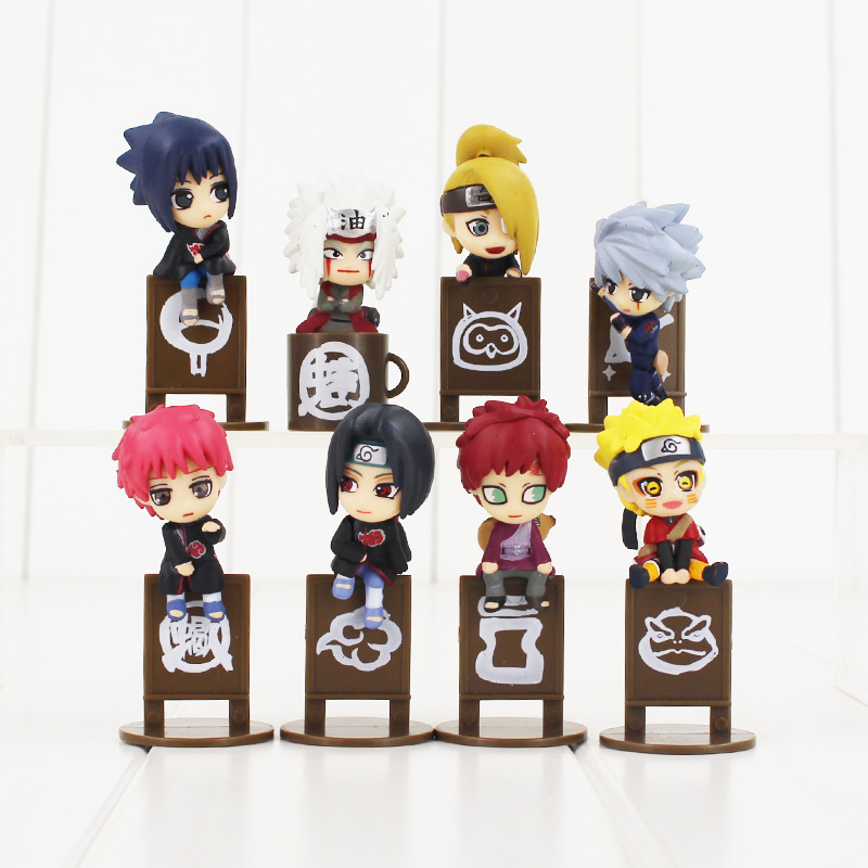 4.5cm 8pcs/lot Naruto cute Sasuke Kakashi Jiraiya Gaara Itachi Sasori Deidara kawaii tea time PVC Japanese figure model toy naruto kakashi hatake action figure sharingan ver kakashi doll pvc action figure collectible model toy 30cm kt3510