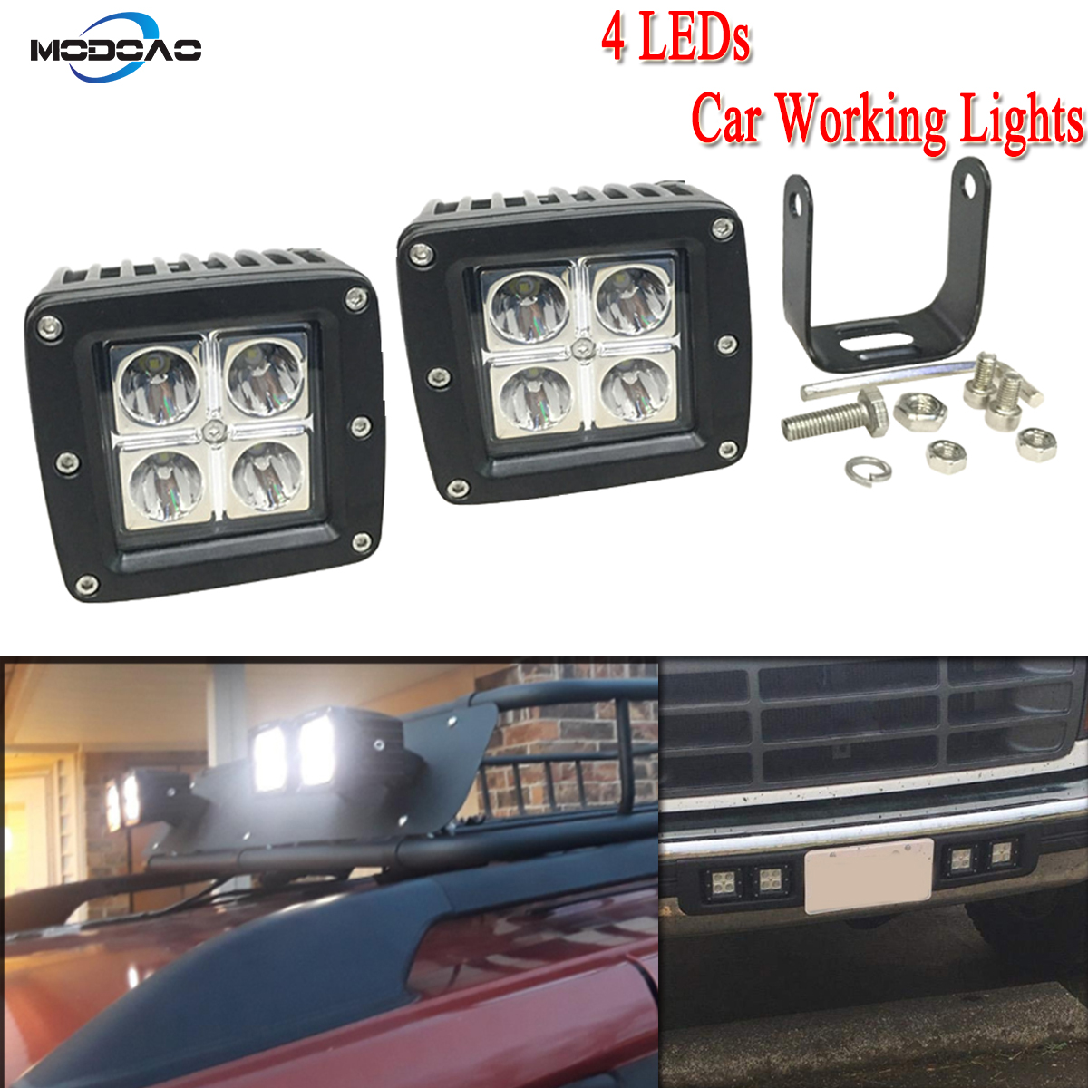 2- Pack 4 LEDs High Power Vehicle Working Lights LED Light Bar Trucks Square Car Lights for ATV UTV SUVs