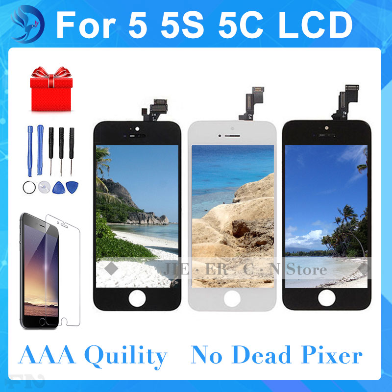 Good Quality AAA No Dead Pixel For iPhone 5 5G LCD Screen With Touch Digitizer Display Assembly Replacement  Black  White 5pcs lot aaa free shipping for iphone 6s lcd display touch screen digitizer replacement assembly no dead pixel black