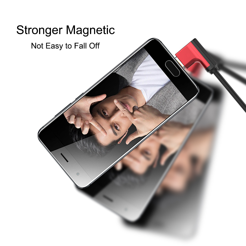 3 in 1 Magnetic 90 degree 1M Micro USB Cable Fast Charging Data 5V2A Braided Type C L Shape Charger for Xiaomi Samsung in Data Cables from Consumer Electronics