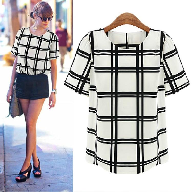 c3b73d2b242c91 2014 Summer New Arrival Fashion Tops Checked Black And White Plaid Shirt  O-neck Short Sleeve Chiffon Blouse S-XL Free Shipping
