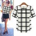 Verão xadrez preto e branco xadrez O curto Chiffon blusa S-XL