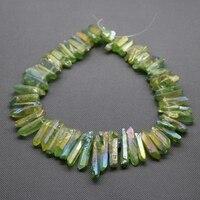 Rainbow Quartz Raw Green AB Quartz Point Pendant Rough Top Drilled Stick Gem Stone Beads Briolettes