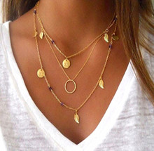 2019 new Personality Simple Fashion Necklace Multi-layer Geometry Leaf Pearl Lady for the women pendant chain layered necklace недорого