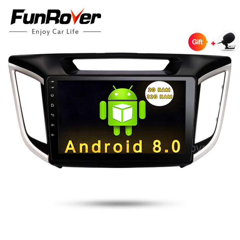 FUNROVER 2G+32G Android 8.0 car navigation dvd player GPS Navi For HYUNDAI IX25 CRETA gps stereo car multimedia tape recorder FM baseus timk series black aubasetk 01
