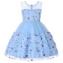 CAILENI Fashion Girls Dress Sleeveless Flower Blue Kids Dresses for Party Birthday 2019 Summer Children Clothing Toddler Frocks