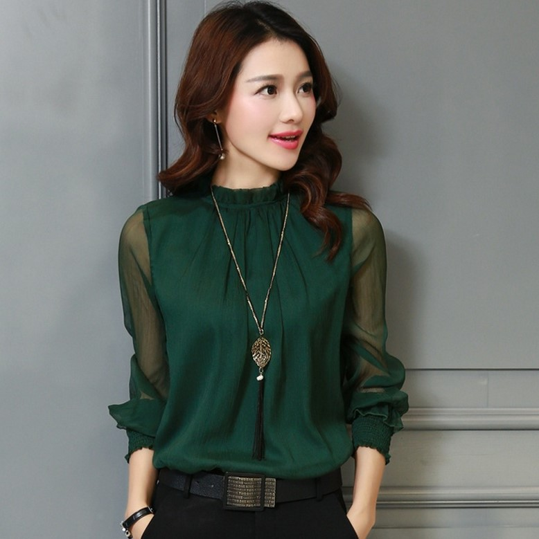 Chiffon Blouse 2019 New Women Tops Long Sleeve Stand Neck Work Wear Shirts Elegant Lady Blouses Casual Solid Color Blusas