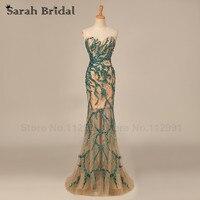 Luxo Verde Beading Lantejoulas Vestidos de Baile Sereia 2017 Hot Sale Querida Vestidos de Noite Das Mulheres vestidos de festa Em Estoque HY017