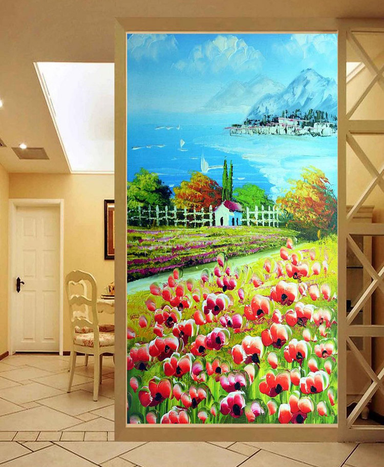 Pastoral Scenery Wall mural Oil painting Photo wallpaper Custom 3D wallpaper Bedroom Hallway Office Hotel Door Art Room Decor free shipping 3d stereo entrance hallway custom wallpaper vertical version european oil painting wallpaper mural
