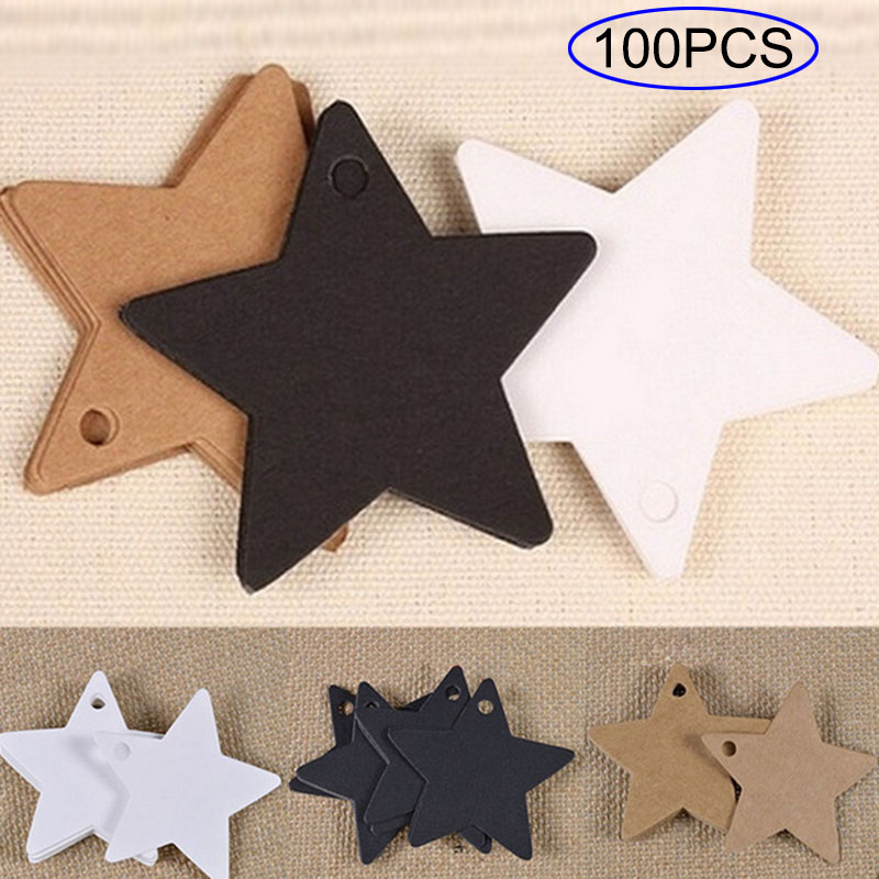 100 Pcs/Set Kraft Paper Price Tags Star Shape Wedding Party Gift Card Luggage Tag Packaging Label E2S