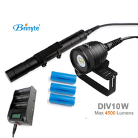 Brinyte DIV10W LED Canister Video Light CREE XML2 4500lm LED Scuba Diving Torch Flashlight 200M Underwater Lamp + battery charge