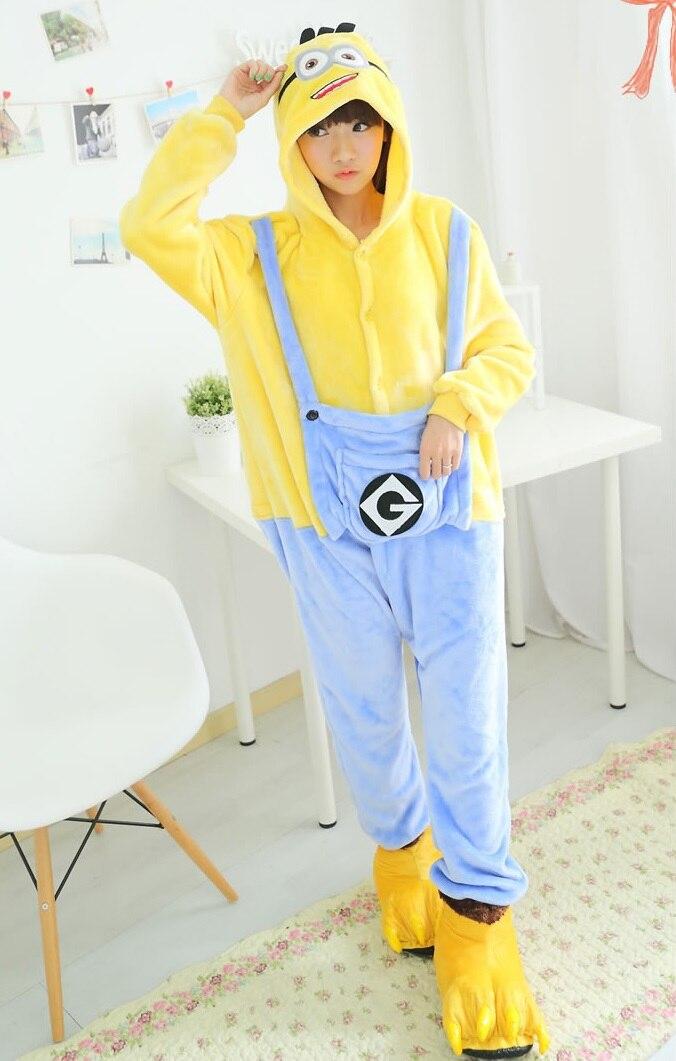 Anime Pijama Cartoon Unisex Adult minions Pajamas Cosplay Costume Animal Onesie Sleepwear Animal pajamas ...