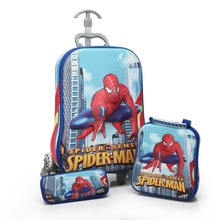 3 Teile/satz kinder anime Reisegepäck spiderman 3D stereo zugstange box cartoon kind bleistift-box kinder koffer geschenk Internat box