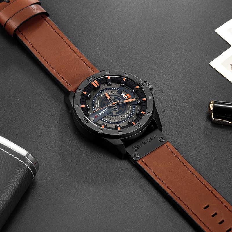 CURREN קוורץ שעונים שעוני יד צבאיות עור גברים מותג מפורסם גברים עסקי גברים עמיד למים לצפות שעון Relogio Masculino