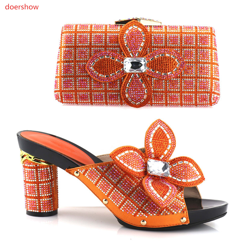 doershow NEW Nigerian Shoes and Bag Set African Matching Shoes and Bags Italian In Women Italian Shoes with Matching Bags!HV1-29 doershow african shoes and bags fashion italian matching shoes and bag set nigerian high heels for wedding dress puw1 19