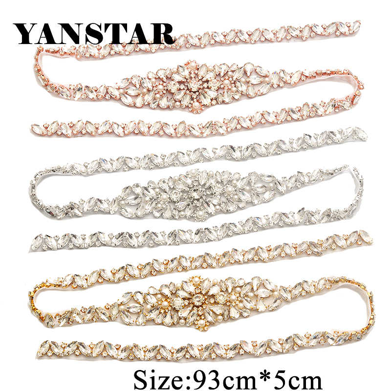 YANSTAR 1PCS Handmade Full Length Rhinestones Appliques Sewing On For  Wedding Dresses Belt Rhinestones Appliques Accessory d6bb900fe91b