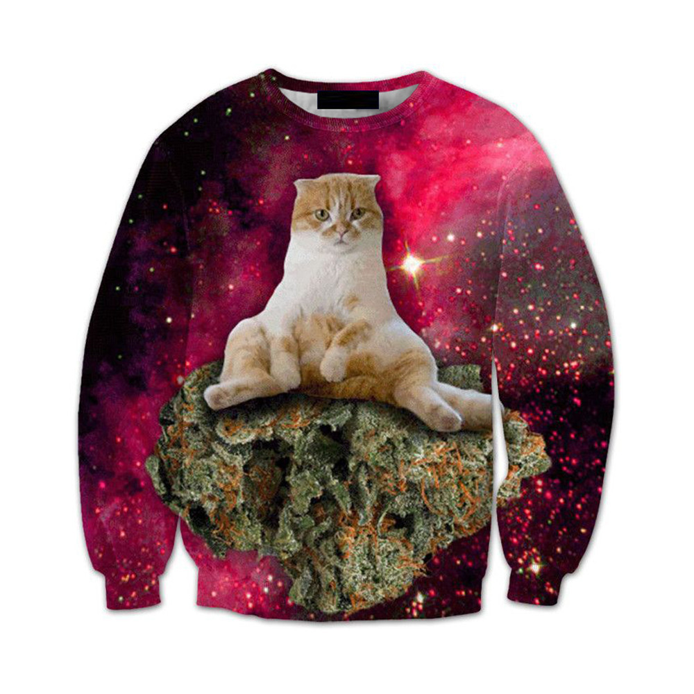 Red Starry Sky Pullover Men 3d Printed Sweatshirt Cute Cat Tide Boy Harajuku StreetWear Punk Rock Style Male Fitness Tracksuits