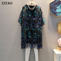 XITAO Floral Hollow Out Women Sexy Dress Embroidery Summer Elegant Oversize O Neck Midi Dess Europe Fashion Women Top ZLL3579