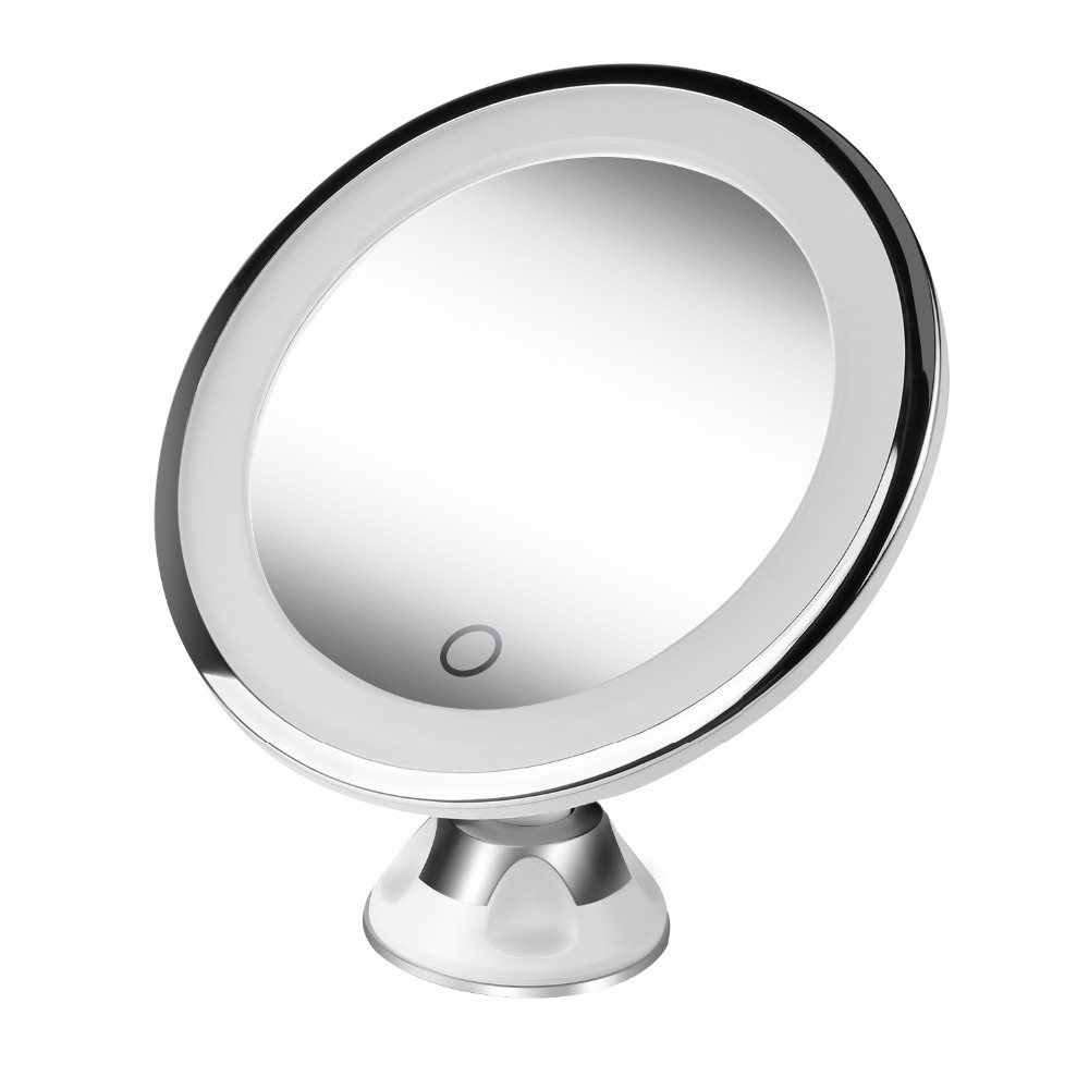 Makeup Mirror with 15 LEDs Light 10x Magnifying Portable Desktop Travel Mirror,Wall Mounted 360 degree rotation Round Mirror large 8 inch fashion high definition desktop makeup mirror 2 face metal bathroom mirror 3x magnifying round pin 360 rotating