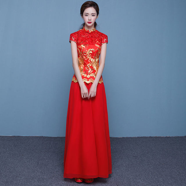Online Shop Red Bride Cheongsam Fashion Women Embroidery Modern ...