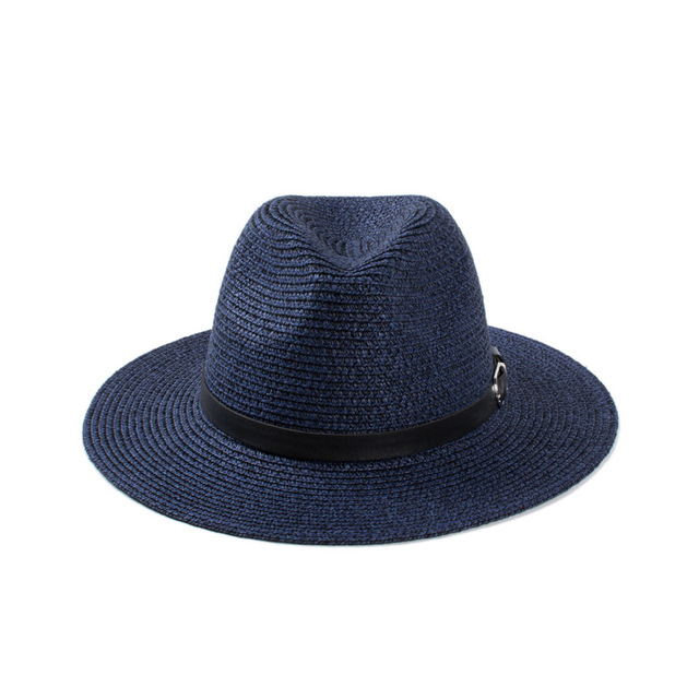 SHOWERSMILE Brand Navy Blue Sun Hats For Men Summer Men s Straw Fedora  Panama Hats Straw Cap Uv Protection Beach Accessories 364e564d14a
