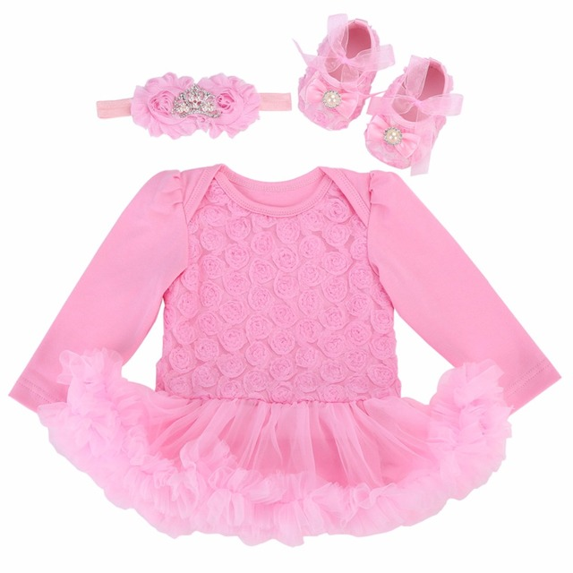 8abf27e37 Wedding Dress Lace Baby Newborn Clothes Girl Set Long Sleeves
