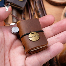 Cute Handmade Genuine Leather Mini Notebook Travel Schedule Diary Weekly Daily Planner Organizer Notebook Portable Stationery