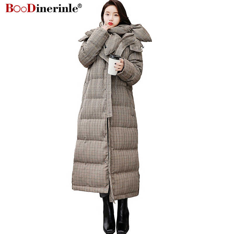 faea6a3be7b 2018 Winter Cotton Jacket for Women Thicken Warm Hooded Long Down Cotton  Coat Parka with Scarf