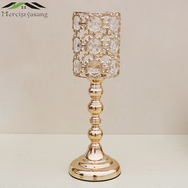 10pcs Lot Metal Gold Candle Holders With Crystal Retro Nice Stand Pillar Candlestick For Wedding Portavelas Candelabra 02102