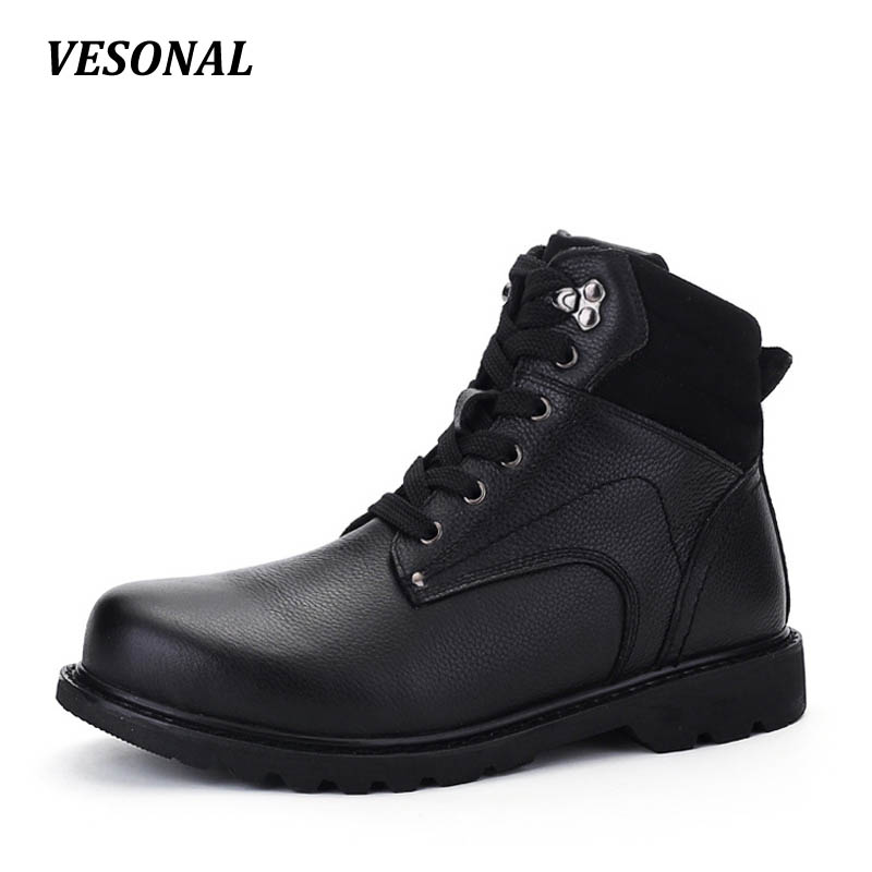 VESONAL Brand 100% Genuine Leather Winter Warm Velvet Snow Boots Men Shoes Cow Military Motocycle Boot Male Big Size SDH686 yin qi shi man winter outdoor shoes hiking camping trip high top hiking boots cow leather durable female plush warm outdoor boot