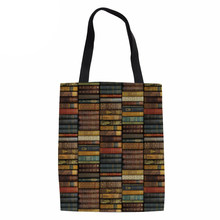 Noisydesigns Environmental Protection Mom Shopping Bag Library Printing Women's Handbags Tote Bag Books Shoulder Bags(China)