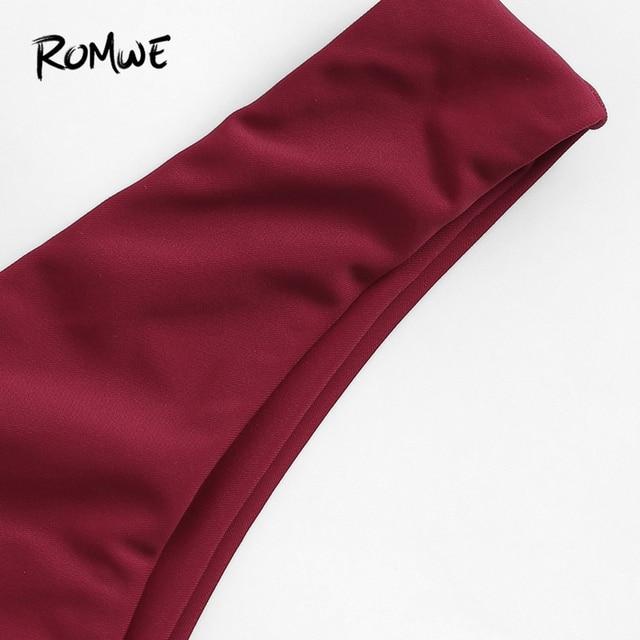 Romwe Sport Бургундия, однотонный топ на косточках с перекрещивающимся крестом, с высокой талией, набор с бикини для женщин 2019, летний сексуальны... 2