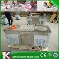 Таиланд Двойной Сковорода жареное мороженое роликовая машина