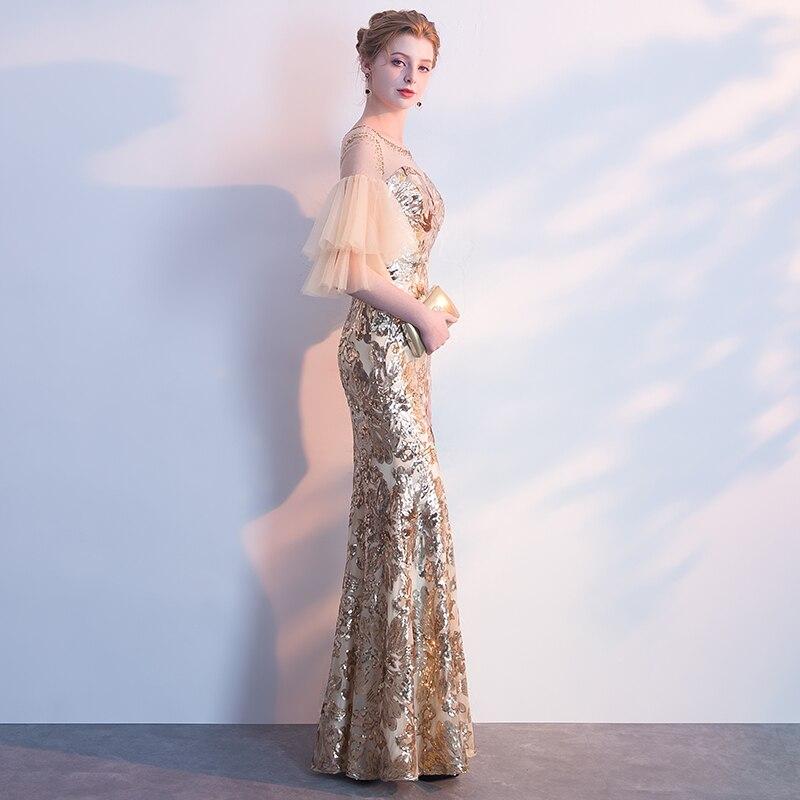 Suknia wieczorowa Syrenka 2018 Cekiny z tiulem Pół rękawy - Suknie specjalne okazje - Zdjęcie 3