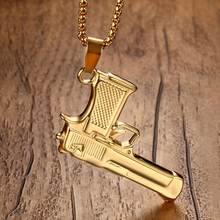 "Boys Hip Hop Pistol HandGun Charm Pendant Necklace for Men Biker Black Gold-color colar Stainless Steel Jewelry 24""(China)"