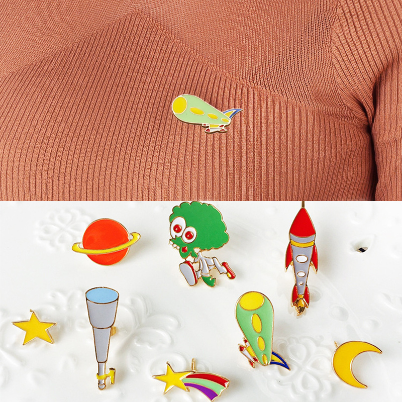 1pc Fashion Jewelry Red Planet Star Moon Brooch Pinsalien Cute Meteor Rocket Clothes Decoration Gift Telescope Airship Jewelry Sets & More Brooches