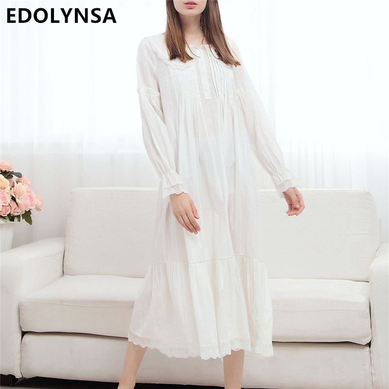 Summer long cotton nightgown princess sleep lounge women Long cotton sleep shirts