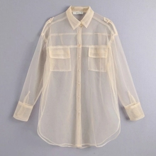 new women sexy pocket decoration transparent mesh blouse lon