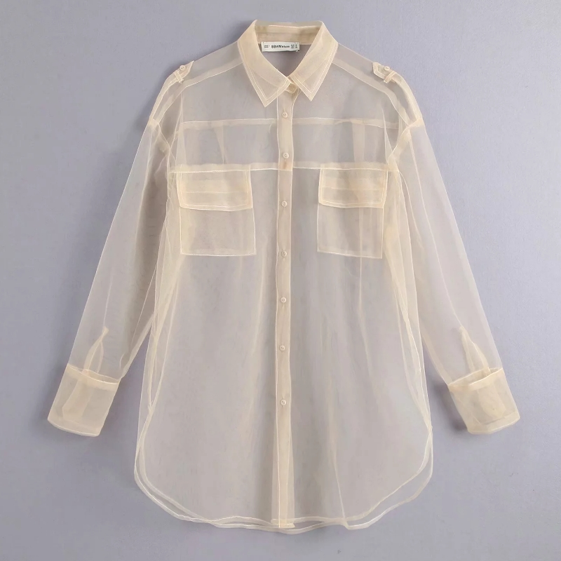 New Women Sexy Pocket Decoration Transparent Mesh Blouse Long Sleeve Smock Shirts Leisure Sunscreen Chemise Blusas Tops LS3964