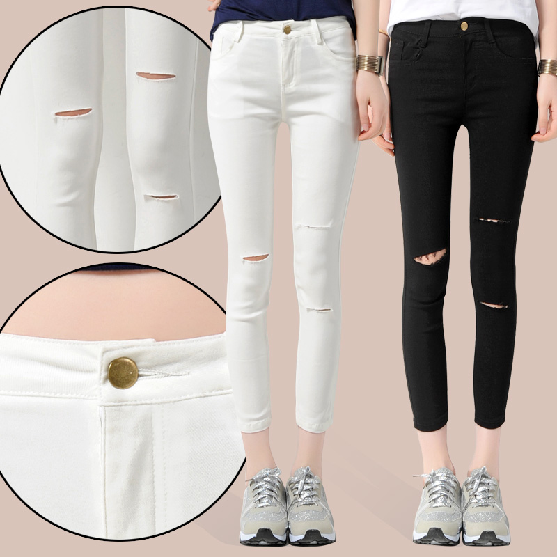 2016 summer Summer style white  black hole ripped jeans Women cool denim high waist jeans skinny casual pencil pants trousers summer style vintage blue hole ripped jeans women cool denim low waist pants capris female skinny black white casual jeans