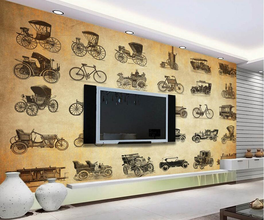 Custom papel de parede,Retro vintage car world transport wallpaper,restaurant bar living room sofa TV wall bedroom 3d murals custom 3d murals cartoon wolf papel de parede hotel restaurant coffee shop living room sofa tv wall children bedroom wallpaper