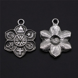 Image 2 - WYSIWYG 2 adet Charms din buda çapraz Om taocu barış İslam antik gümüş renk 28x36mm din takılar