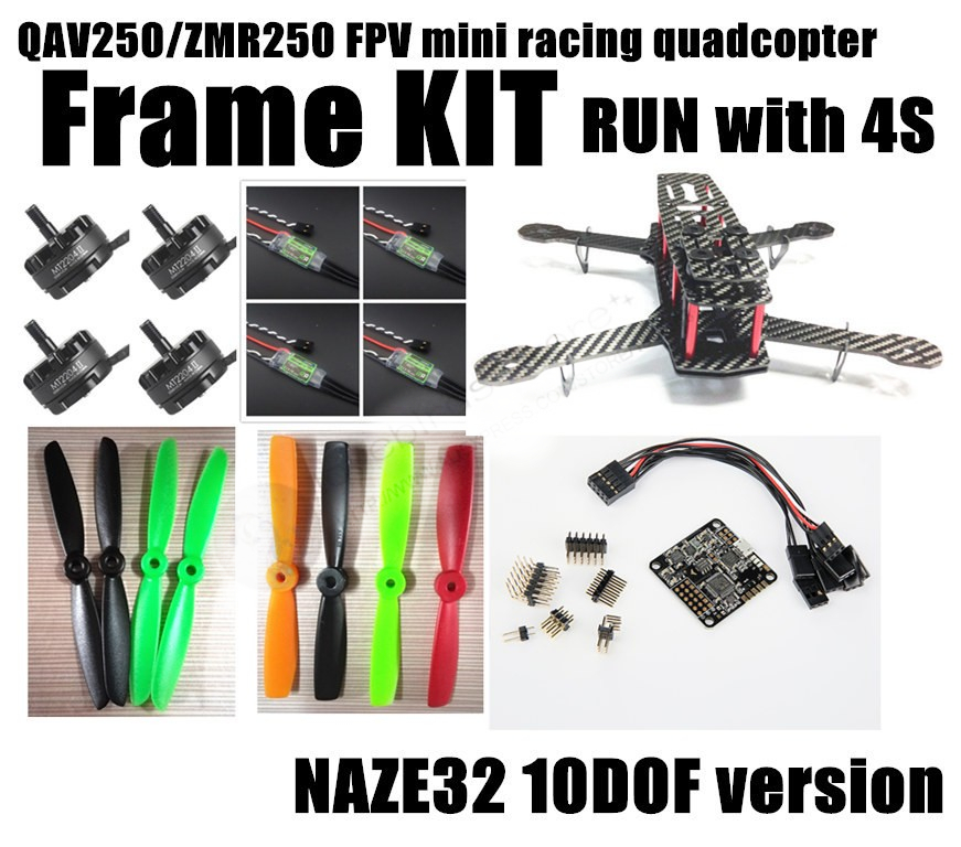 DIY mini drone FPV race quadcopter QAV250 / ZMR250 pure carbon fiber frame run with 4S kit NAZE32 10DOF + EMAX MT2204 II 2300KV carbon fiber zmr250 c250 quadcopter