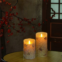 Flameless Moving Wick Birch Bark Electric Wax Candle Lights With Remote Control Luminara Flameless Candle For