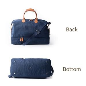 Image 4 - Mealivos Canvas Waterproof Travel Tote Duffel shoulder handbag Weekend Bag with Shoe Compartment