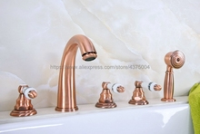 цена на Antique Red Copper Bathroom Roman Tub Faucet Widespread 5pcs Tub Mixer Tap Deck Mounted with Hand Shower Ntf234