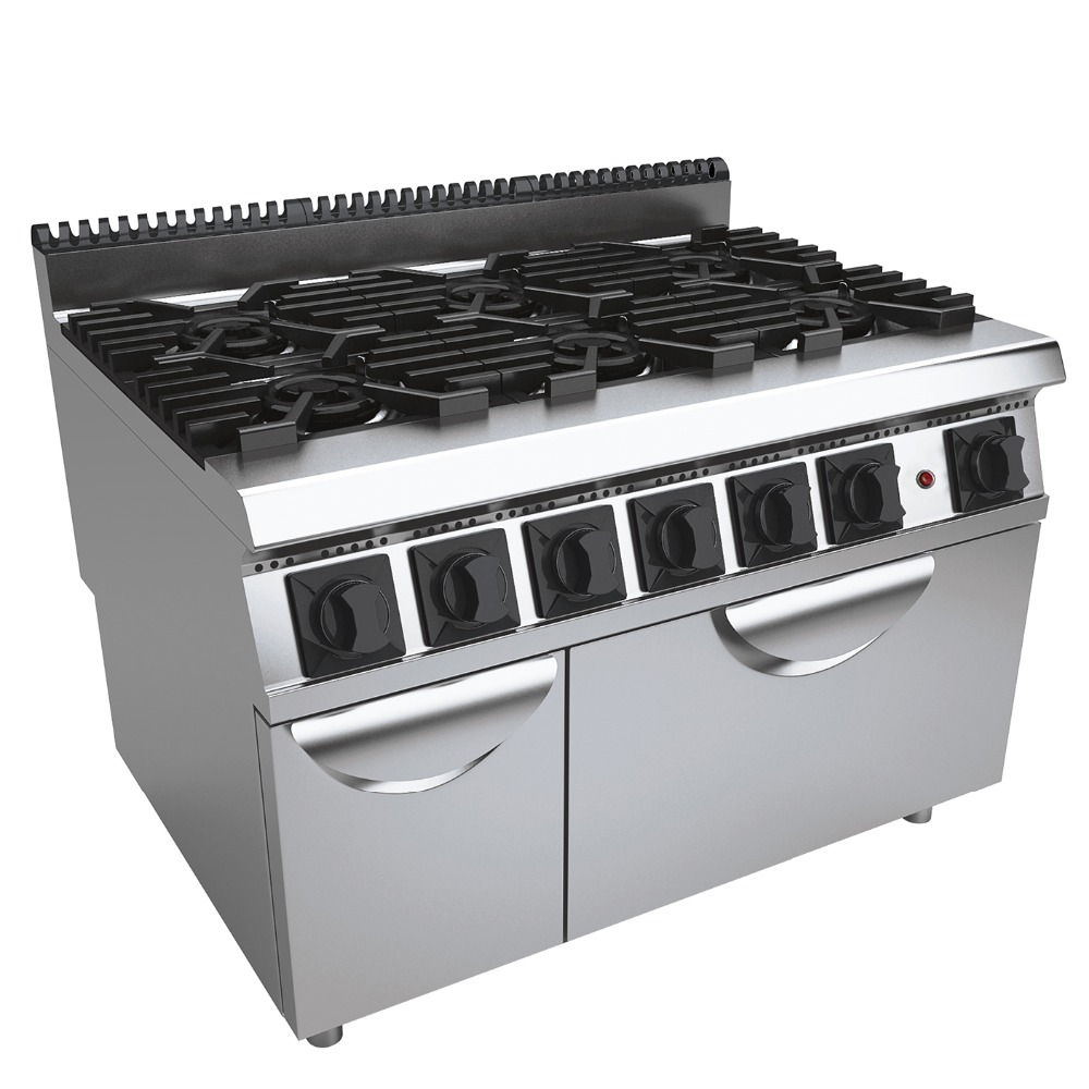 6 Burner Vertical Gas Commercial Stove Cooking Range Multifunction Cooker Equipment With Gas Oven