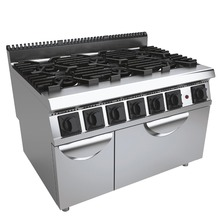 Western Kitchen Machines 6 Burners Gas Cooking Range with Gas Oven Multifunction Cooker Equipment(China)